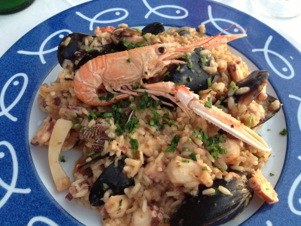 My main course was a seafood risotto that was looking back at me, but I didn't mind.