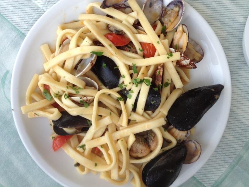 I had homemade seafood pasta.