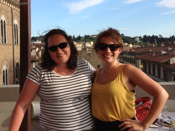In Florence taking in the views from a rooftop cafe