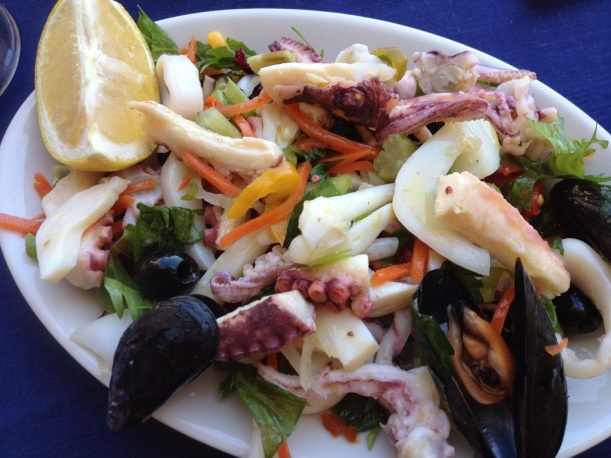 My first lunch upon arriving in Rome: mixed seafood salad