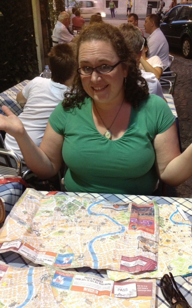 A few hours later, we had seen some sights and were ready to eat again. But even with three maps on the table we couldn't figure out where to go for our last dinner in Rome.