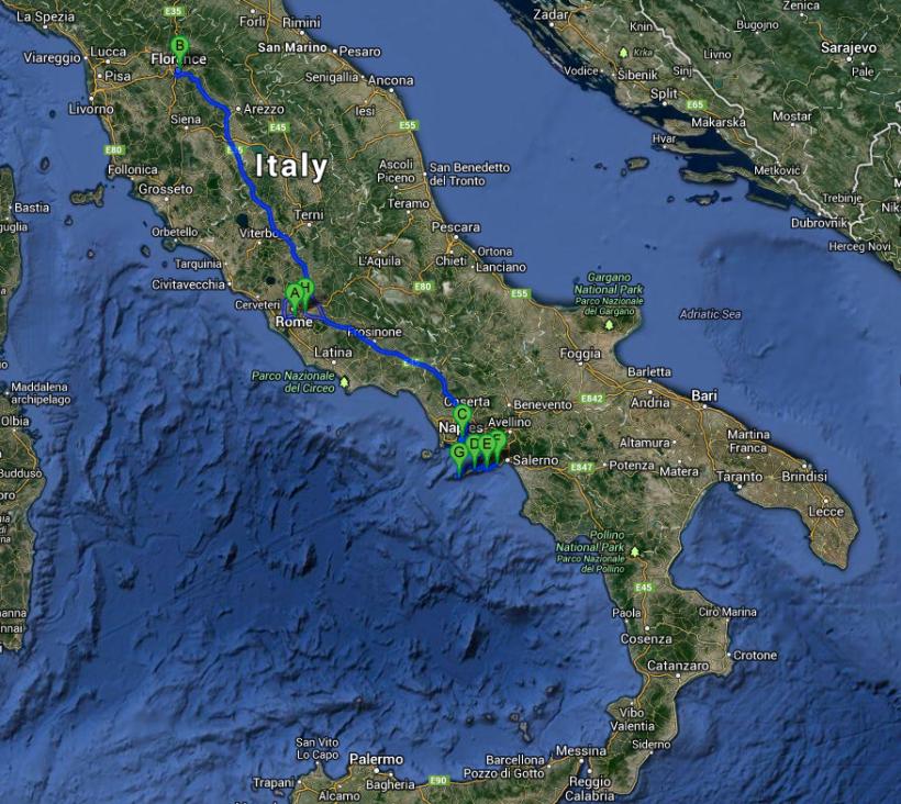 The Journey: Rome to Florence to Naples to Sorrento to Positano to Amalfi to Capri to Rome